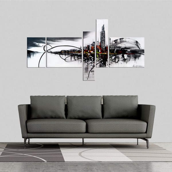 Home Office Sets Painted Office 5 Piece: 'City On The River' 5-piece Gallery-wrapped Hand Painted
