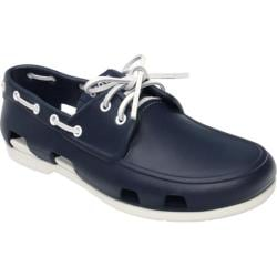 5dd638442c8e0 Men s Crocs Beach Line Boat Shoe Navy White Crocs Loafers on PopScreen