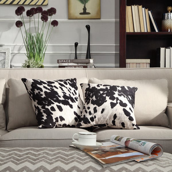 Decorating With Pillows: INSPIRE Q Black & White Faux Cow Hide Print Decorative