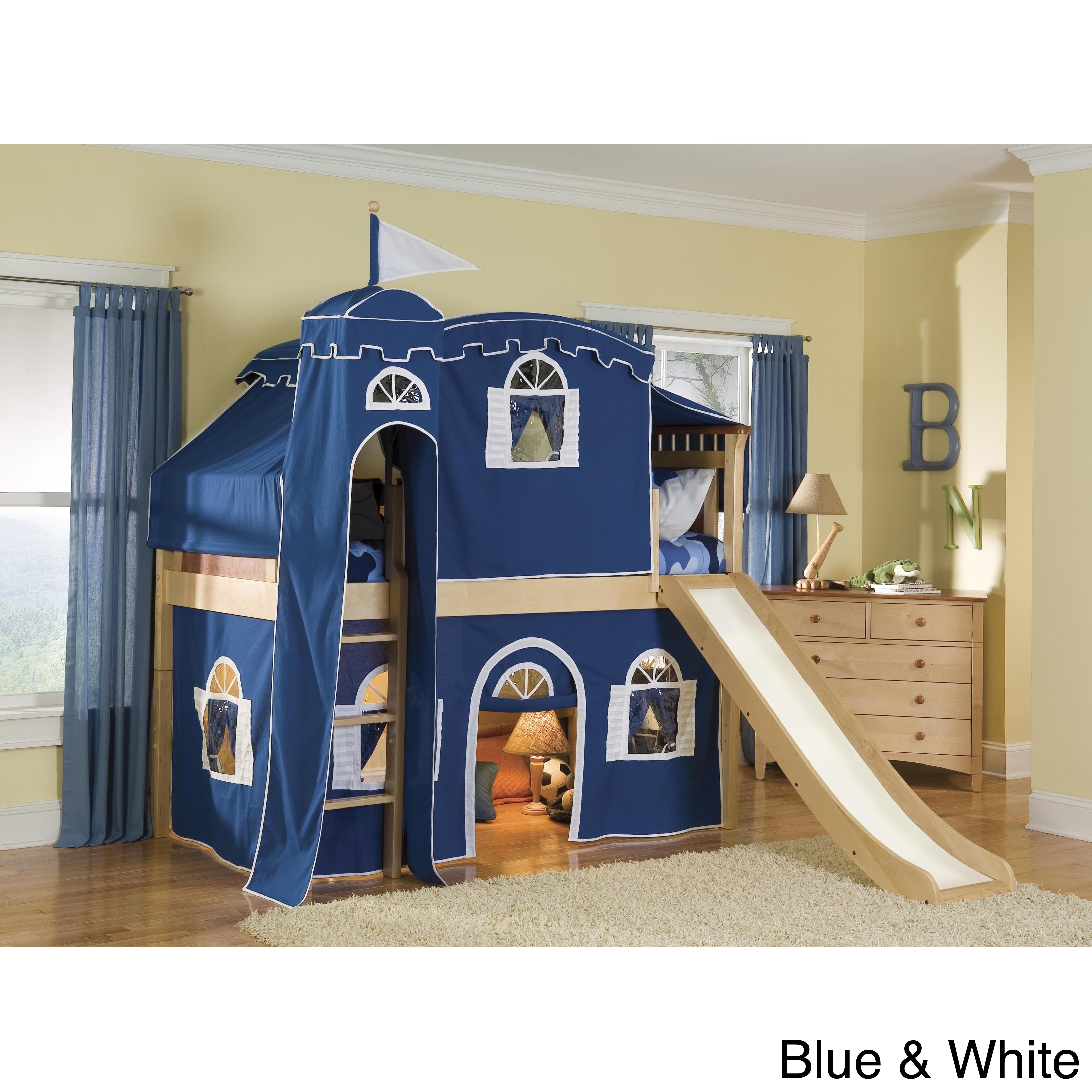 Bennington Low Loft Twin Bed With Castle Tower Top Tent