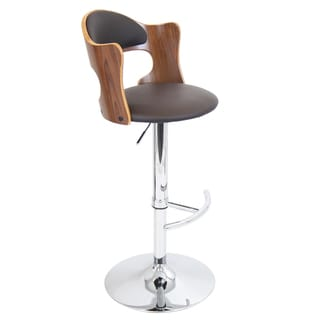Cello Adjustable Bent Wood Scooped Barstool