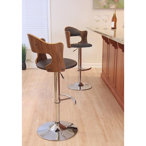 Cello Mid Century Modern Adjustable Wood Barstool