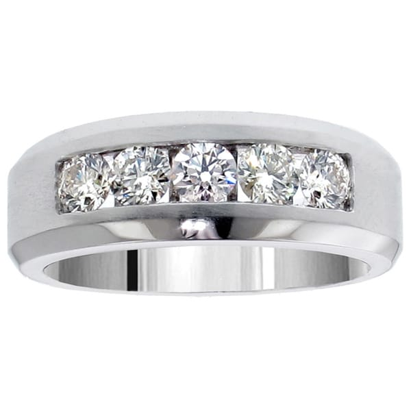 Platinum Or Gold 1 10ct Men S Diamond Five Stone Channel