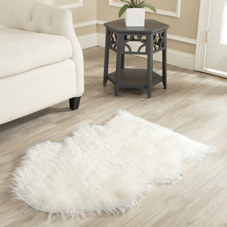 Safavieh hand made faux sheep skin ivory rug 2 39 x 3 - Faux animal skin rugs ...