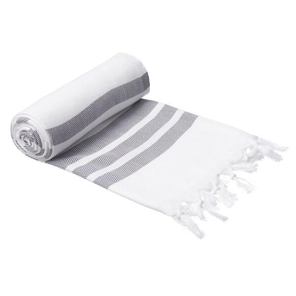 authentic pestemal fouta gray and white bold stripe turkish cotton bath beach towel 15416698. Black Bedroom Furniture Sets. Home Design Ideas