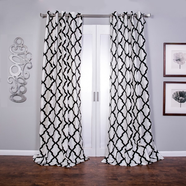 Trellis Bold Flocked Curtain Panel 15416802 Overstock