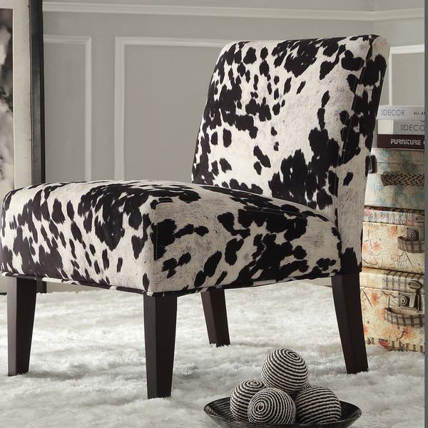 Inspire Q Black Amp White Faux Cow Hide Fabric Accent Chair