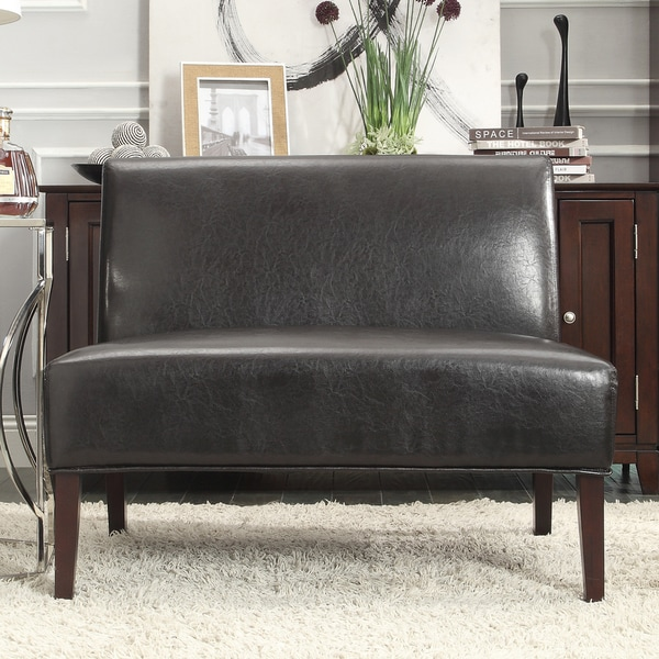 Inspire Q Wicker Dark Brown Faux Leather 2 Seater Accent