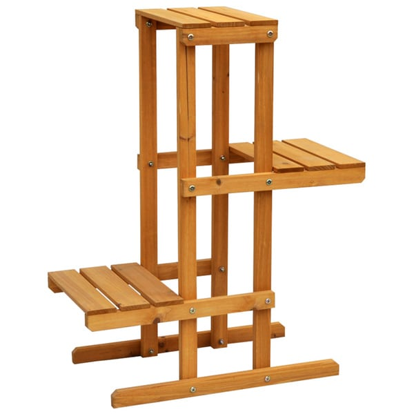 cyress wood 3 tier plant stand 15418189 shopping great deals on planters. Black Bedroom Furniture Sets. Home Design Ideas