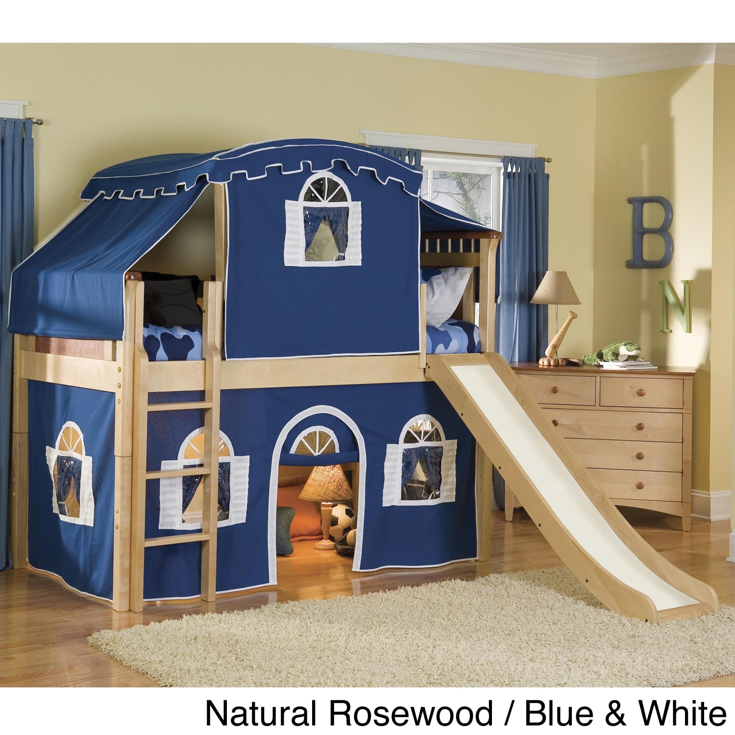 boys kids tented bed with slide bedroom beds twin fun sturdy new tent curtian ebay. Black Bedroom Furniture Sets. Home Design Ideas