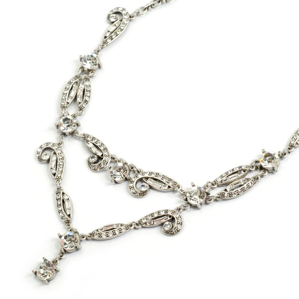 Sweet Romance Art Deco Crystal Vintage Silver Wedding