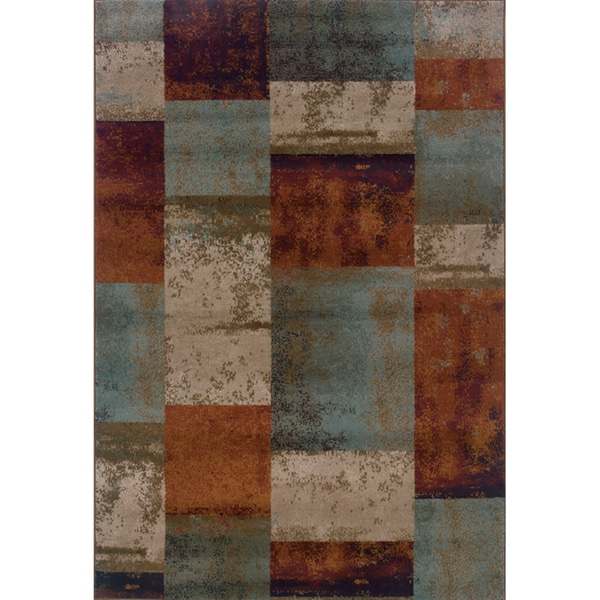 Geometric Block Blue Orange Area Rug 7 10 X 10 10
