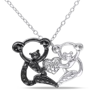 M Letter In Black Diamonds Silver Black Diamond Koala