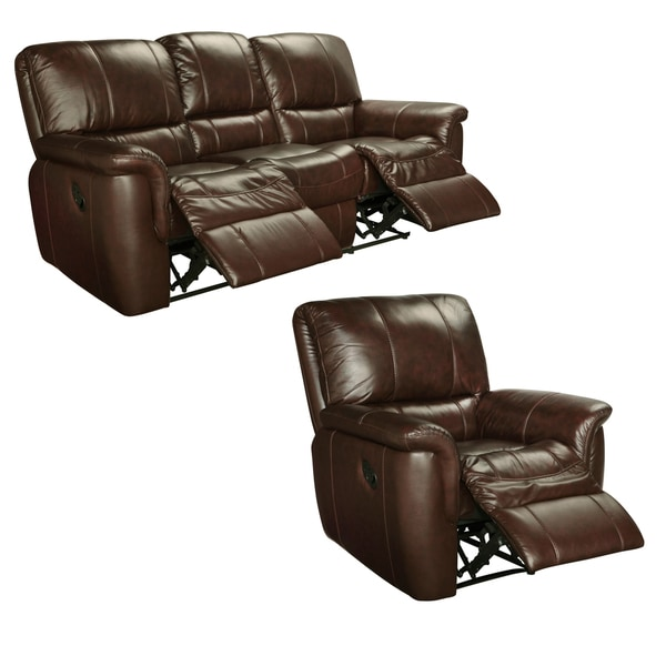 Ethan Chestnut Brown Italian Leather Reclining Sofa And