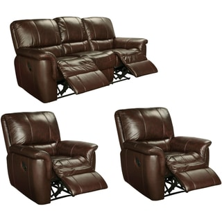 Peachy Deals Ethan Chestnut Brown Leather Reclining Sofa And Two Caraccident5 Cool Chair Designs And Ideas Caraccident5Info