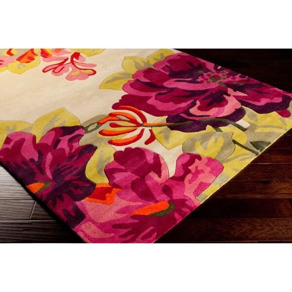 Sanderson Hand Tufted Pink Floral Wool Rug 8 X 11