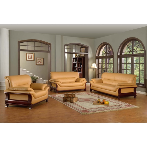 Overstock Living Room Sets: Kalina Bonded Leather Modern Set