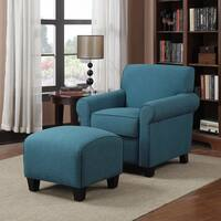 Clay Alder Home Pope Street Caribbean Blue Linen Arm Chair and Ottoman