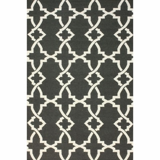 Nuloom Handmade Flatweave Diamond Grey Cotton Rug 8 X 10