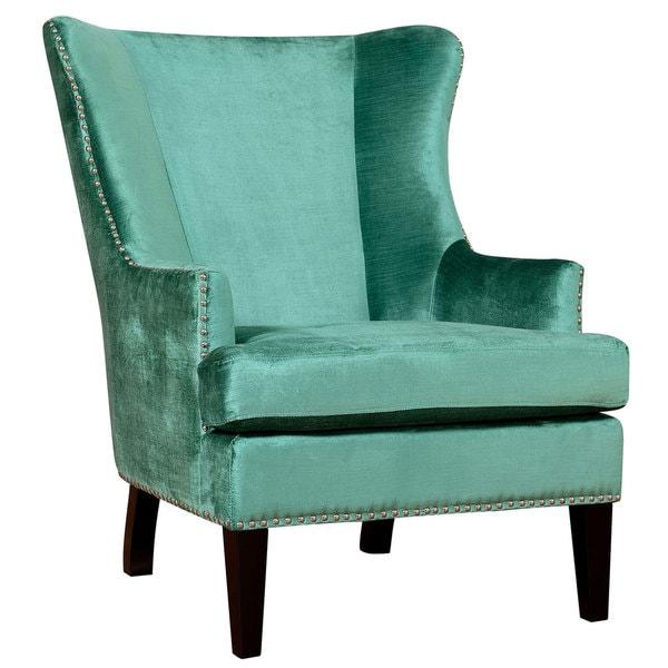 Soho Turquoise Velvet Wing Chair 15456591 Overstock