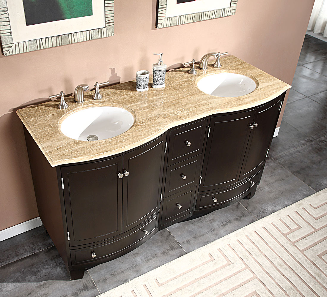 Silkroad Exclusive 60-inch Travertine Stone Top Bathroom ...