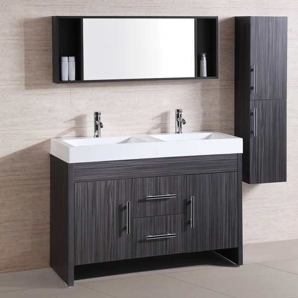 Resin top 48 inch double sink bathroom vanity set - 48 inch white bathroom vanity with top ...