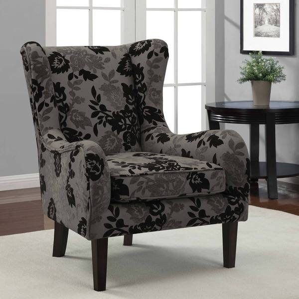 floral slipcovers for wingback chairs | Floral Grey/ Black Curved Wing Chair - 15457600 ...