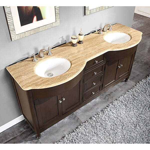 90 Inch Double Sink Bathroom Vanity: Silkroad Exclusive 72-inch Travertine Stone-top Double