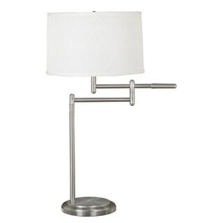 Aldrin Brushed Steel Swing Arm Floor Lamp 15277194