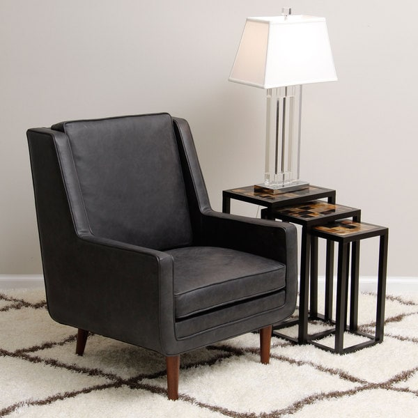 Moss Oxford Leather Black Accent Chair 15465007