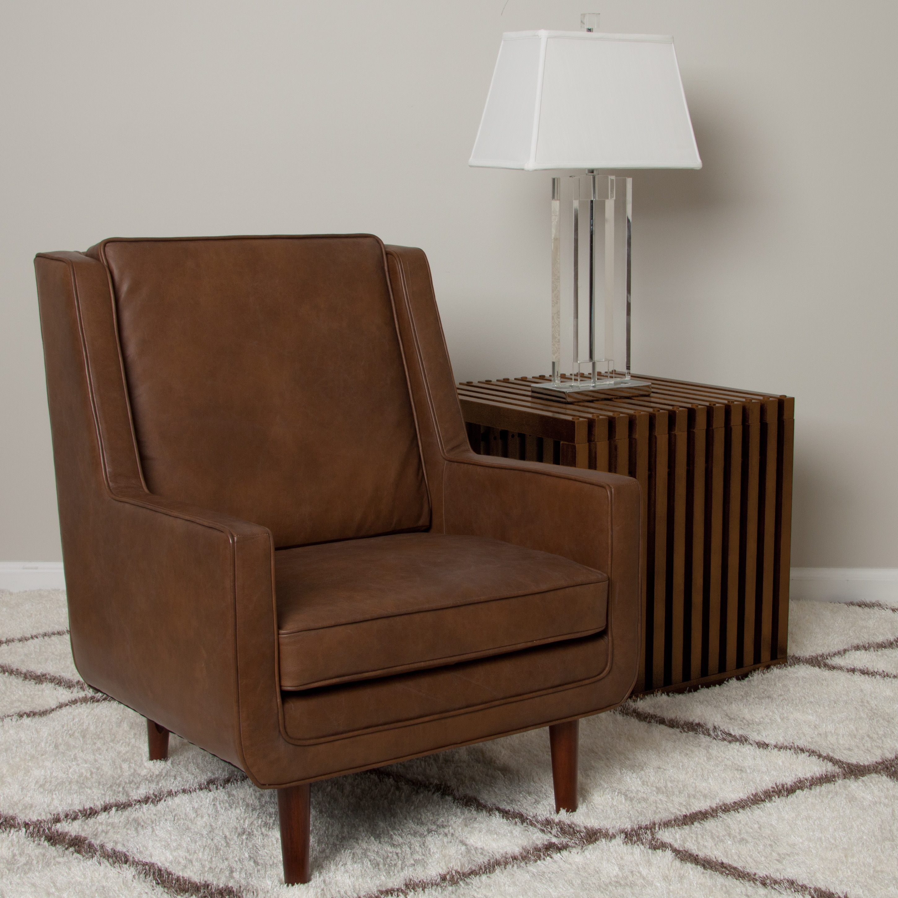 Moss Oxford Leather Tan Accent Chair Overstock Shopping