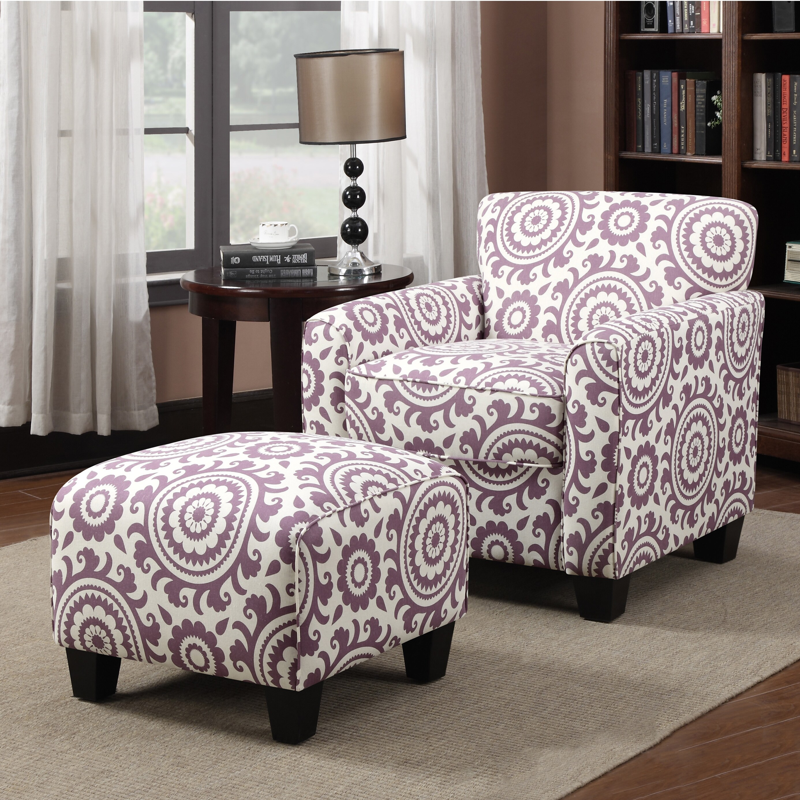 Portfolio Park Avenue Amethyst Purple Medallion Arm Chair