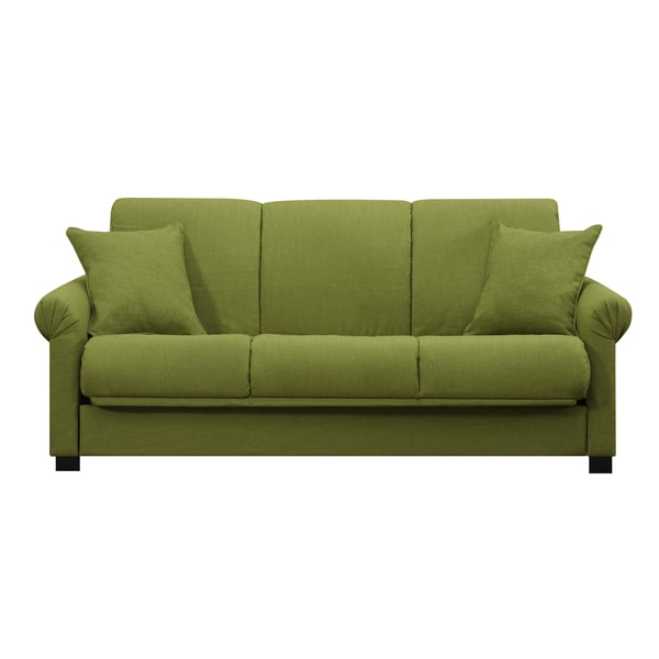 Portfolio Rio Convert A Couch Apple Green Linen Futon Sofa
