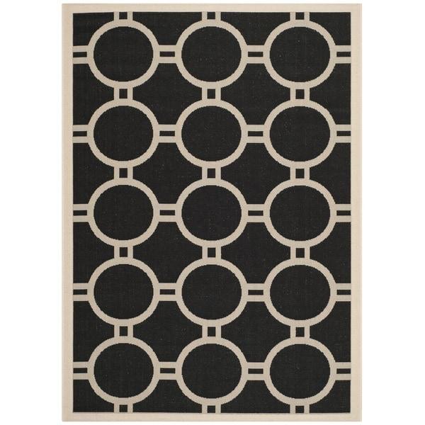 Safavieh Indoor/Outdoor Courtyard Black/Beige Circle-Pattern Rug - 8' x 11'