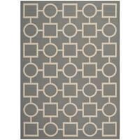 Safavieh Indoor/Outdoor Courtyard Rectangular Anthracite/Beige Rug - 8' x 11'