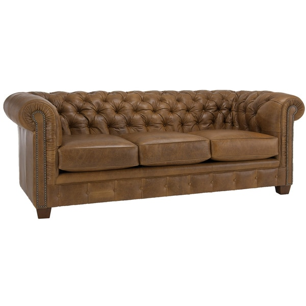New 28 Brown Leather Tufted Sofa