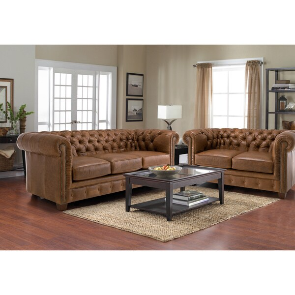 distressed leather sofa for living room | Hancock Tufted Distressed Brown Leather Chesterfield ...