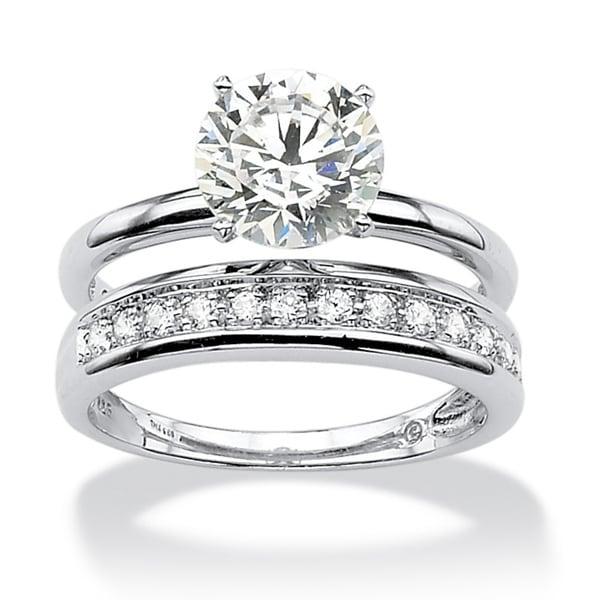 PalmBeach 2.20 TCW Round Cubic Zirconia Wedding Ring Set ...