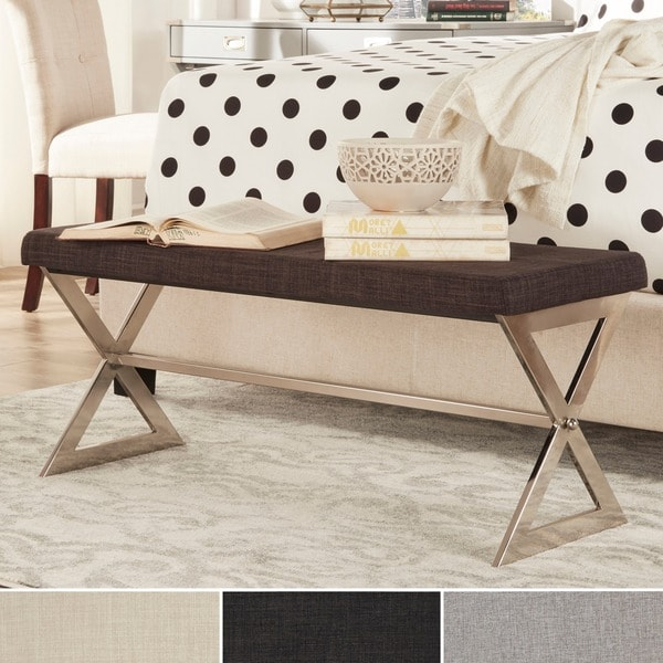 Inspire Q Southport Linen 40 Inch Metal Bench