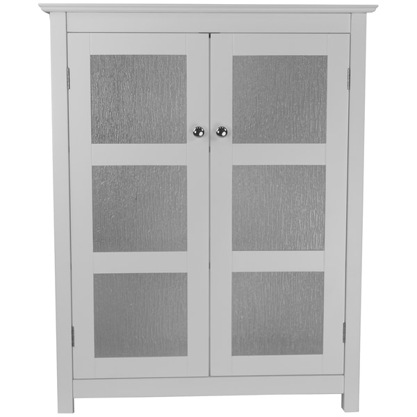 Highland White Double Glass Door Floor Cabinet By Elegant