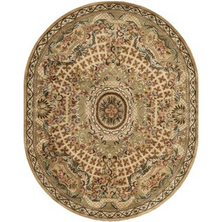 Safavieh Hand-made Classic Taupe/ Light Green Wool Rug - 7'6' x 9'6' oval