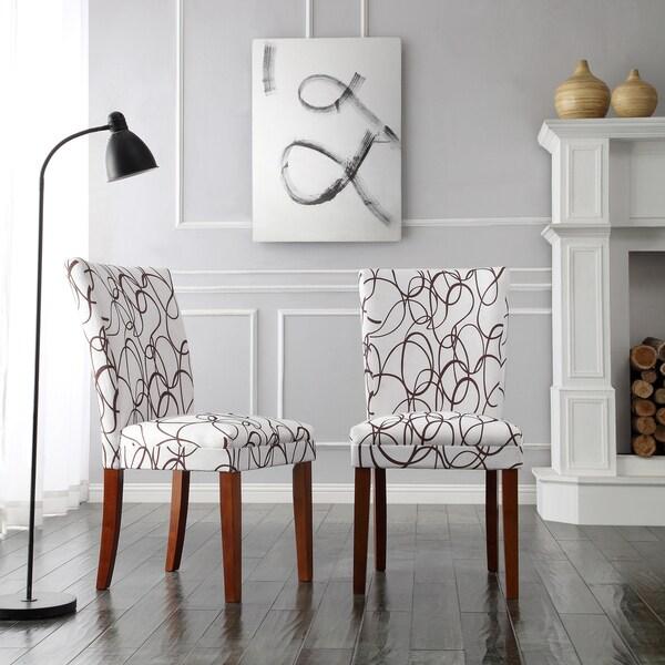 Decor Modern Brown Swirl Scroll Print Upholstered Side