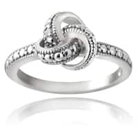 DB Designs Sterling Silver Diamond Accent Love Knot Ring