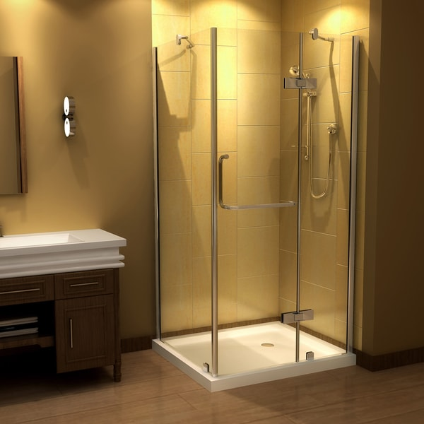 Aston 40 In X 40 In Semi Frameless Round Bypass Shower Enclosure In ...