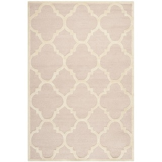Hand Tufted Riley Blush Ivory Trellis Dots Shag Rug 3 0