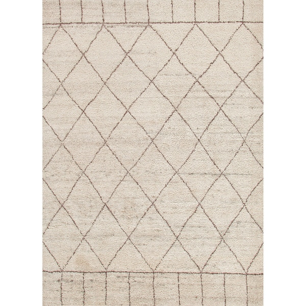 Hand Knotted Contemporary Moroccan Pattern Brown Rug 8 X
