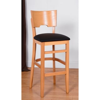 Solid Beech Wood Upholstered Bar Stool 15521449