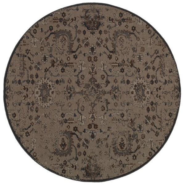 Distressed Overdyed Grey Black Area Rug 7 8 Round
