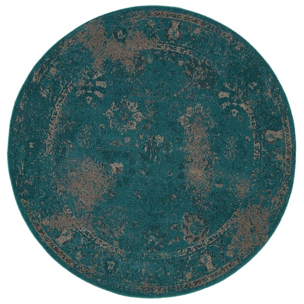 Over Dyed Distressed Traditional Teal Beige Area Rug 7 8