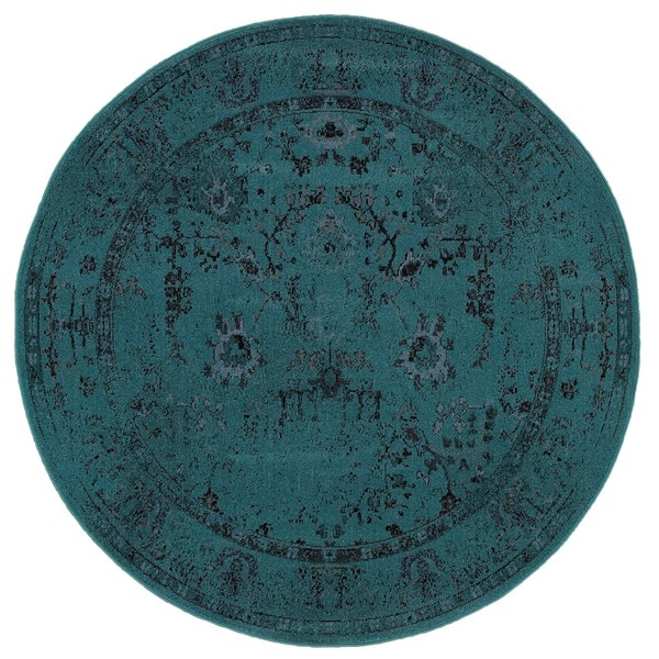 Over Dyed Distressed Traditional Teal Grey Area Rug 7 8